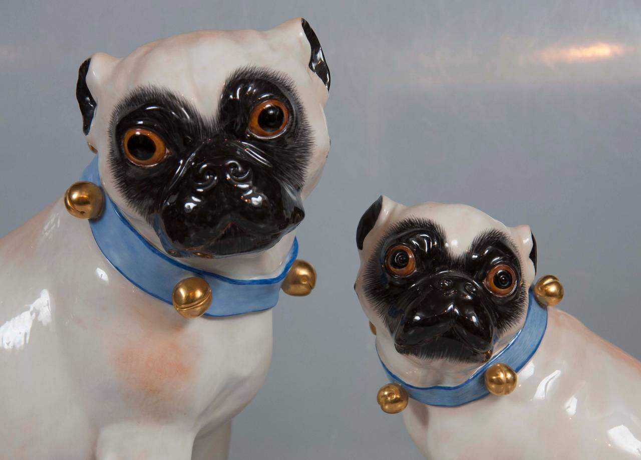 20th Century Pair of Hallmarked Meissen Pug Dogs For Sale