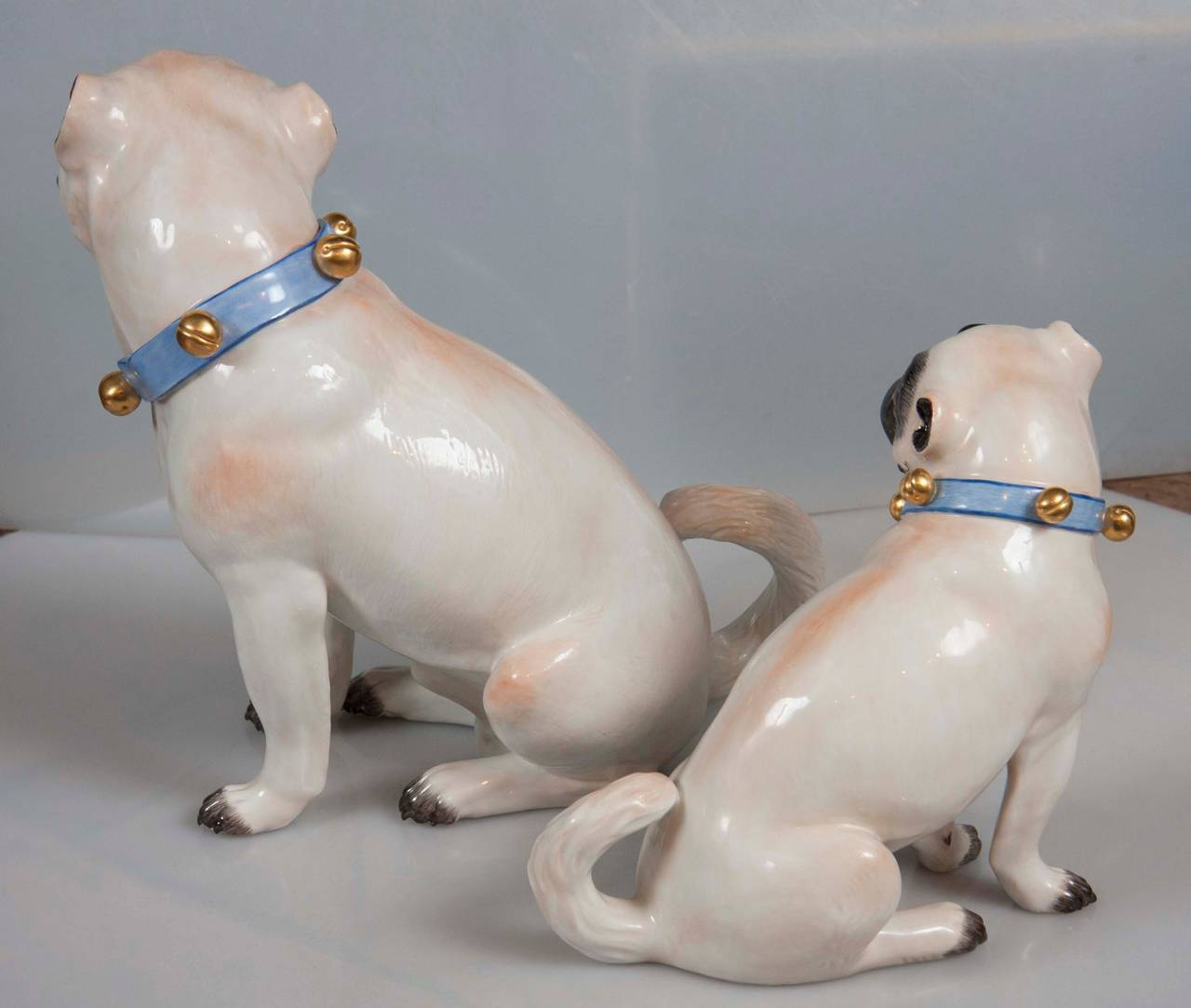 German Pair of Hallmarked Meissen Pug Dogs For Sale