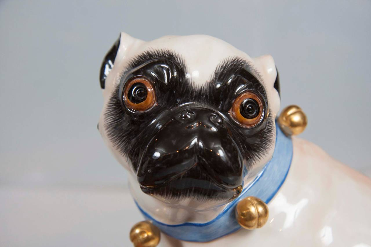 Porcelain Pair of Hallmarked Meissen Pug Dogs For Sale
