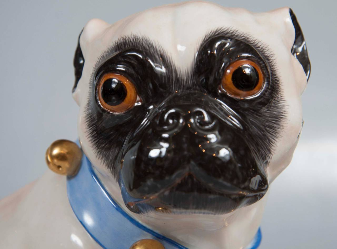 Pair of Hallmarked Meissen Pug Dogs For Sale 1