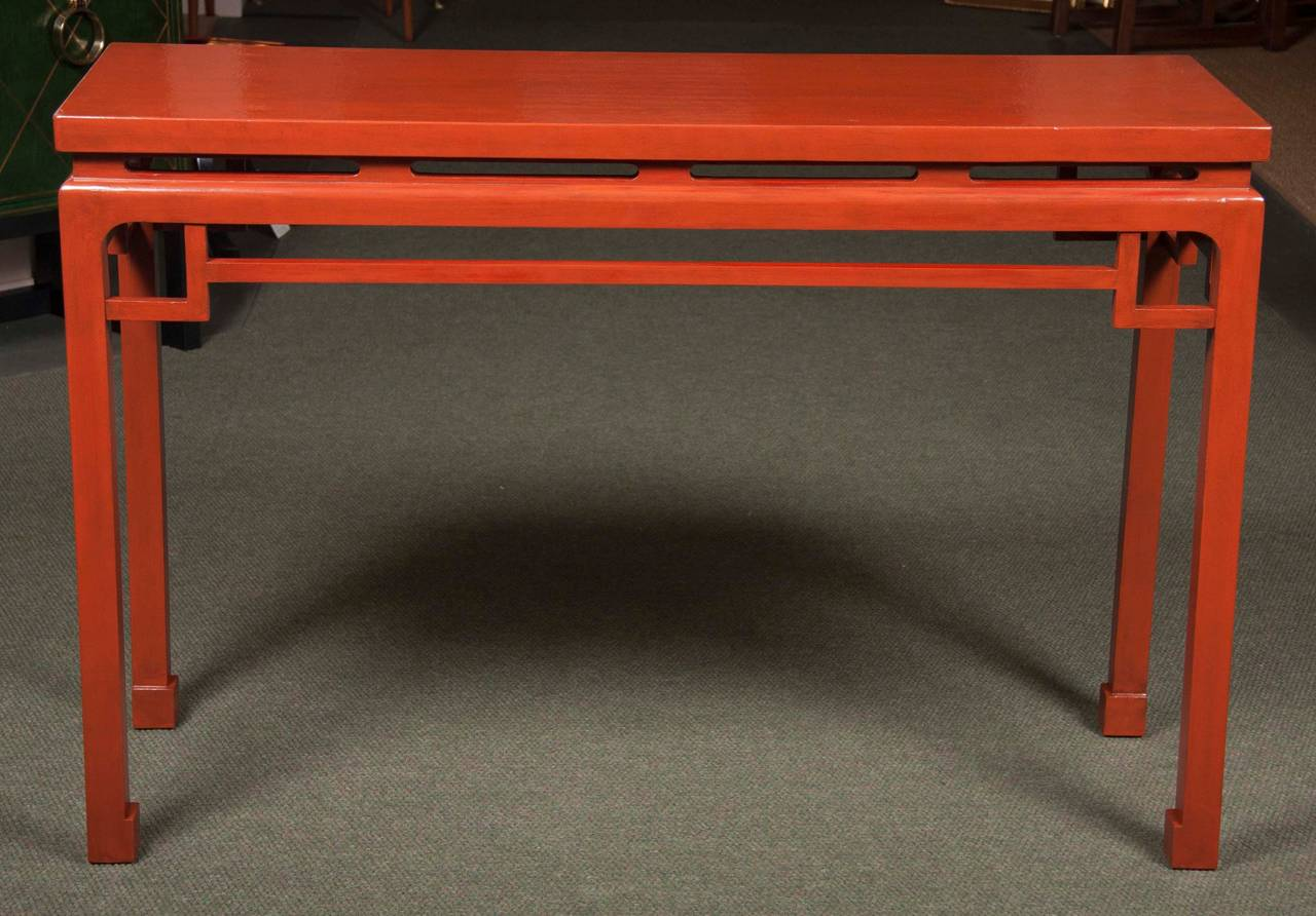 Chinese Red Lacquered Console Tables