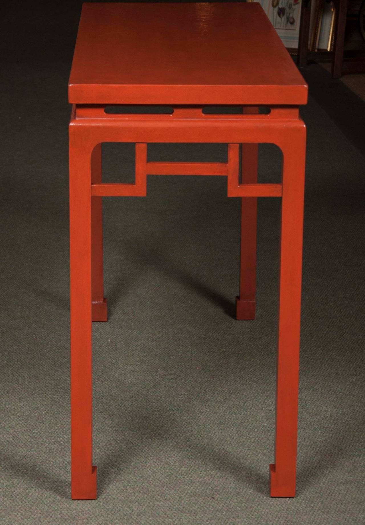 Pair Of Chinese Red Lacquered Console Tables In Excellent Condition For Stamford Ct
