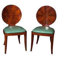 Set of Eight Round-Back Bookmatched Walnut Dining Chairs
