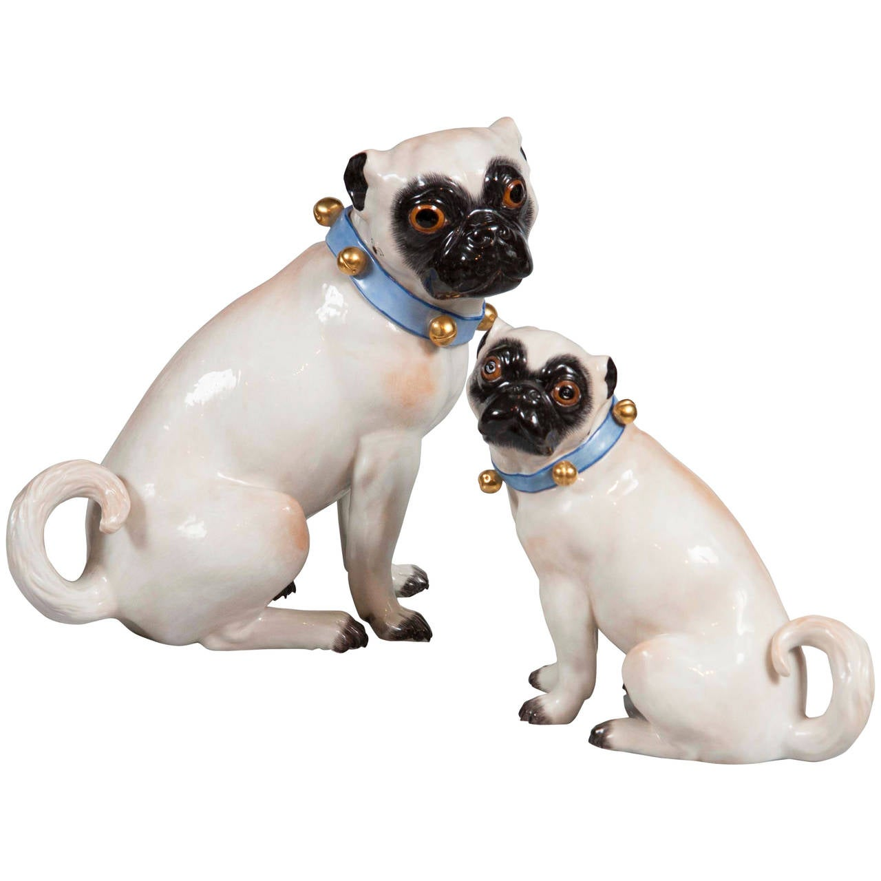 Pair of Hallmarked Meissen Pug Dogs For Sale
