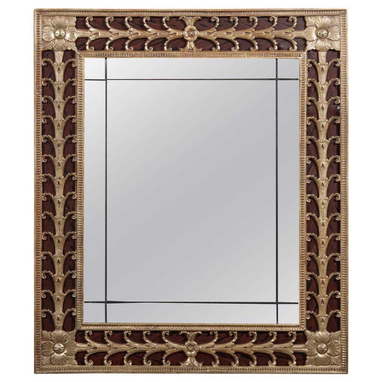 Art Nouveau Solid Brass Mirror