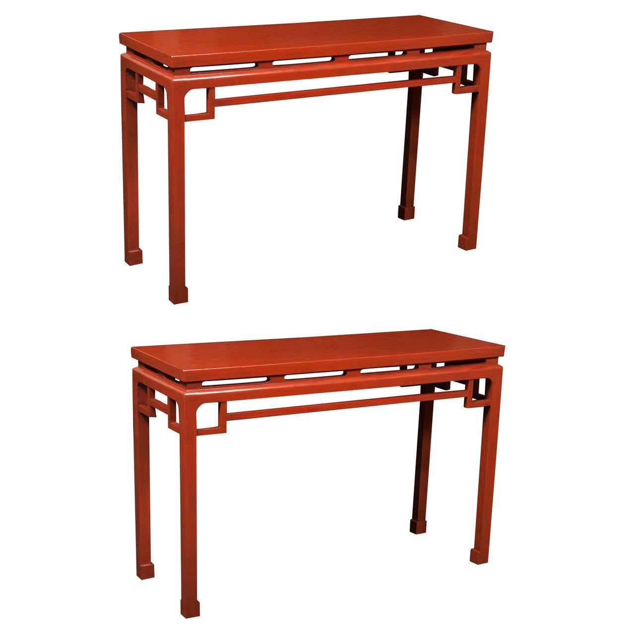 Pair Of Chinese Red Lacquered Console Tables
