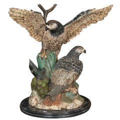 Monumental Size Limited Edition Bronze Sculpture of Falcons