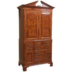 19th Century Yew Wood and Mahogany Linen Press