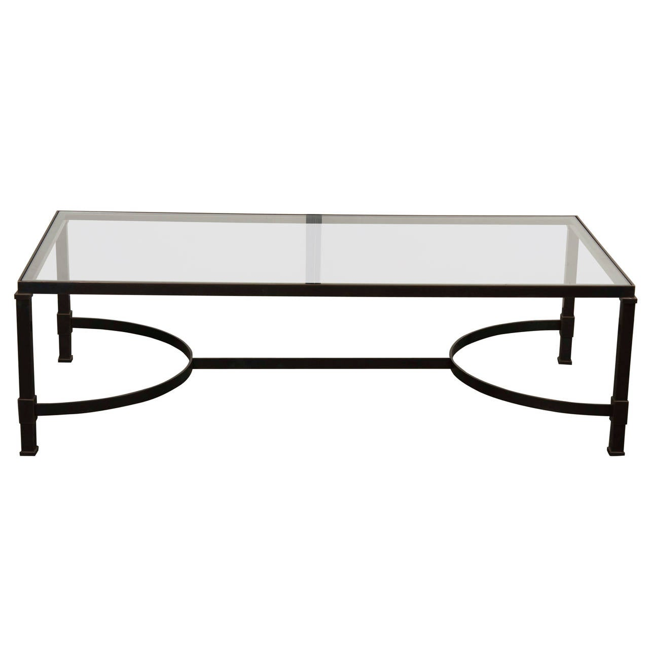Custom Glass Top Iron Coffee Table At 1stdibs