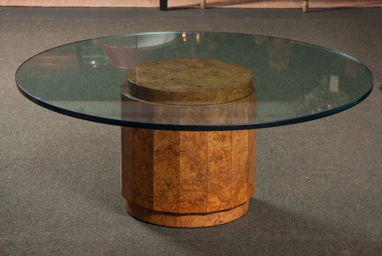 Burl Olive Wood Glass Top Table By Edward Wormley For Dunbar # 6302G 3