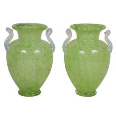 Pair of Steuben Green Cluthra Glass Vases