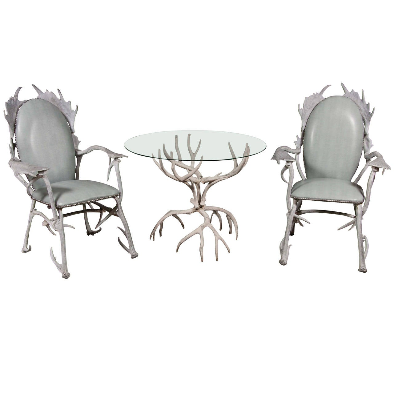 Arthur Court Antler Motif Aluminum Chairs And Table 1
