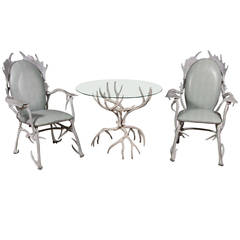 Arthur Court Antler Motif Aluminum Chairs and Table