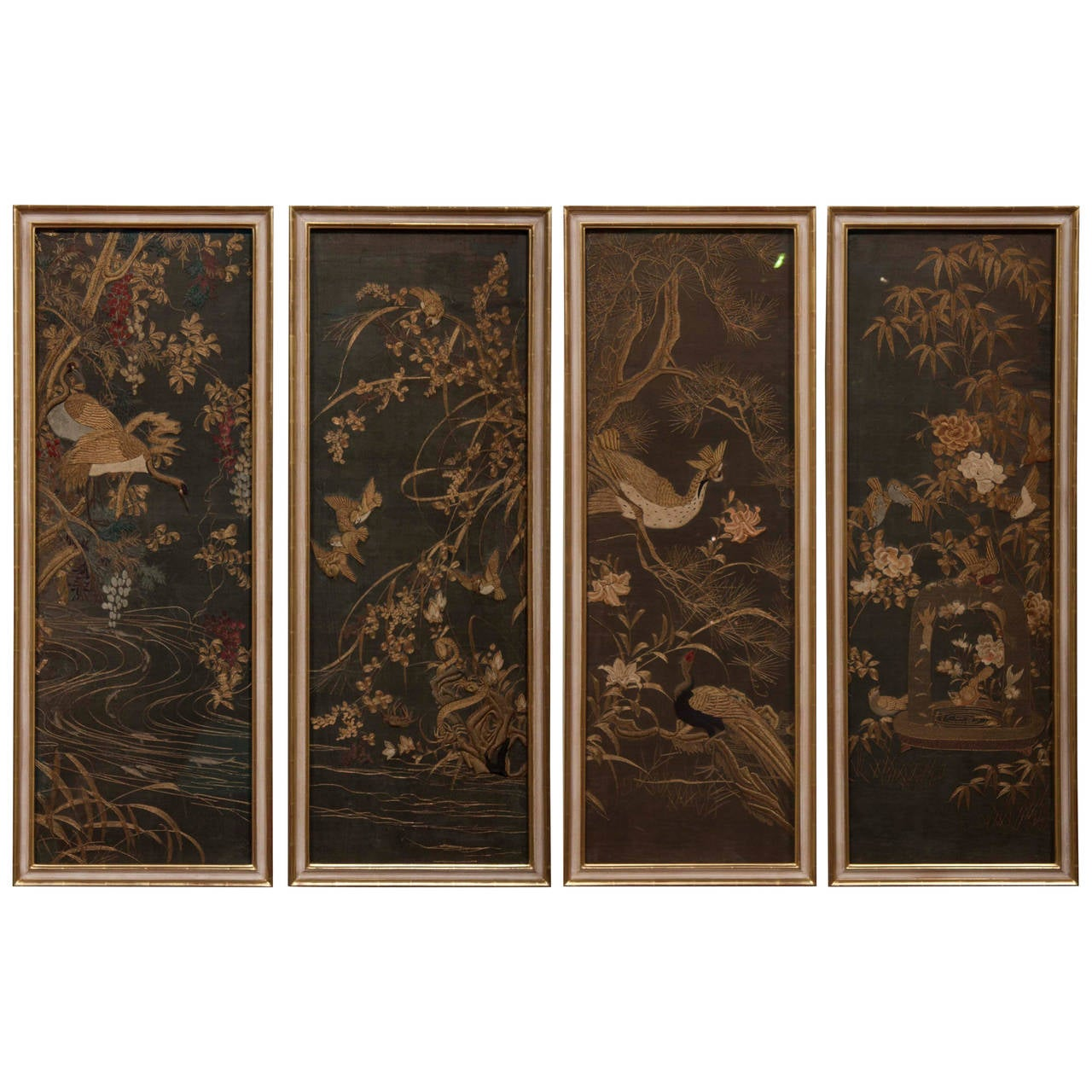 Silk Screen Screens : Four framed japanese embroidered silk panels for sale at