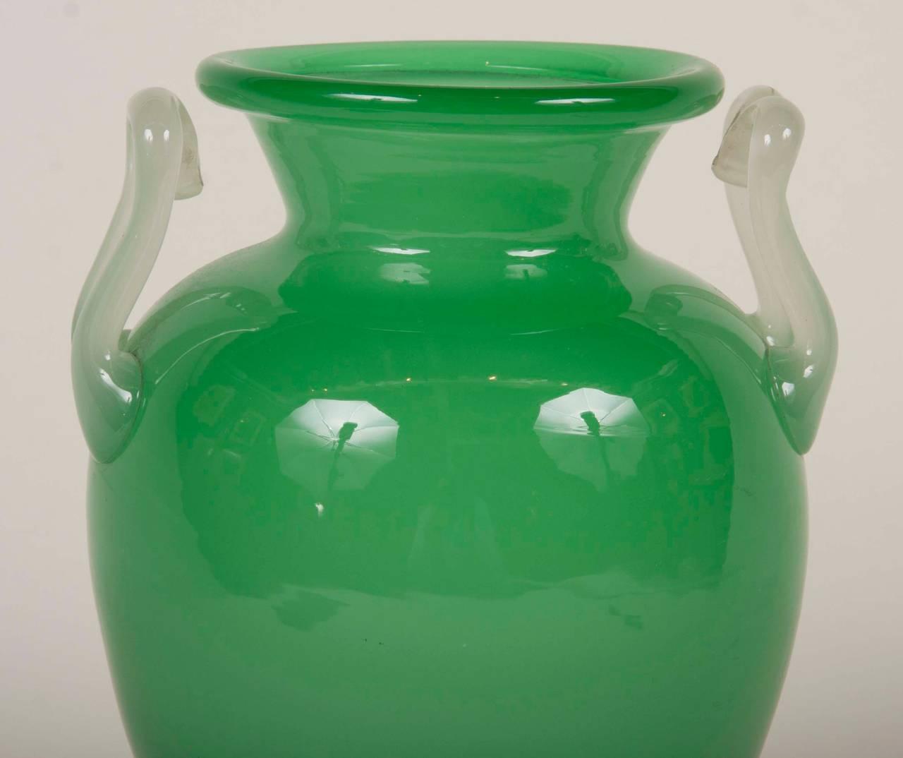 Steuben jade green glass vase signed f carder at 1stdibs steuben jade green glass vase with opaque handles signed f carder reviewsmspy