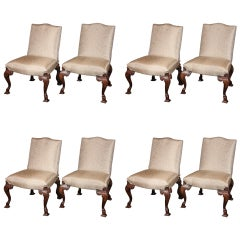 Set of Eight George II Walnut Dining Chairs