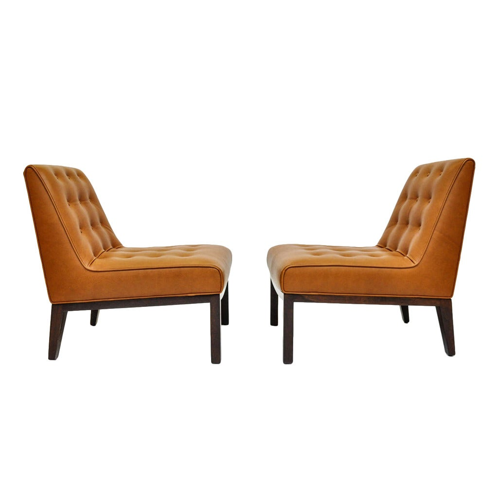 Leather slipper chairs by edward wormley for dunbar at 1stdibs for Slipper chair