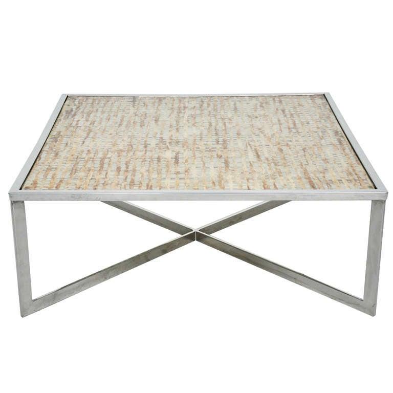 chrome x base cocktail table at 1stdibs. Black Bedroom Furniture Sets. Home Design Ideas