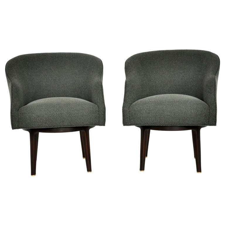 Dunbar Swivel Lounge Chairs by Edward Wormley For Sale