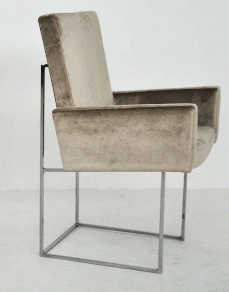 milo baughman chrome dining chairs at 1stdibs