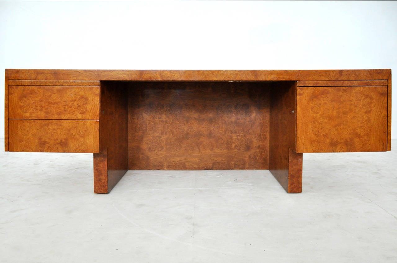 Mid-Century Modern 1970s Burl Wood and Chrome Executive Desk