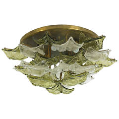 Italian Murano Glass Flush Mount Chandelier