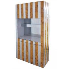 Paul Evans Burl Wood and Chrome Bar Cabinet