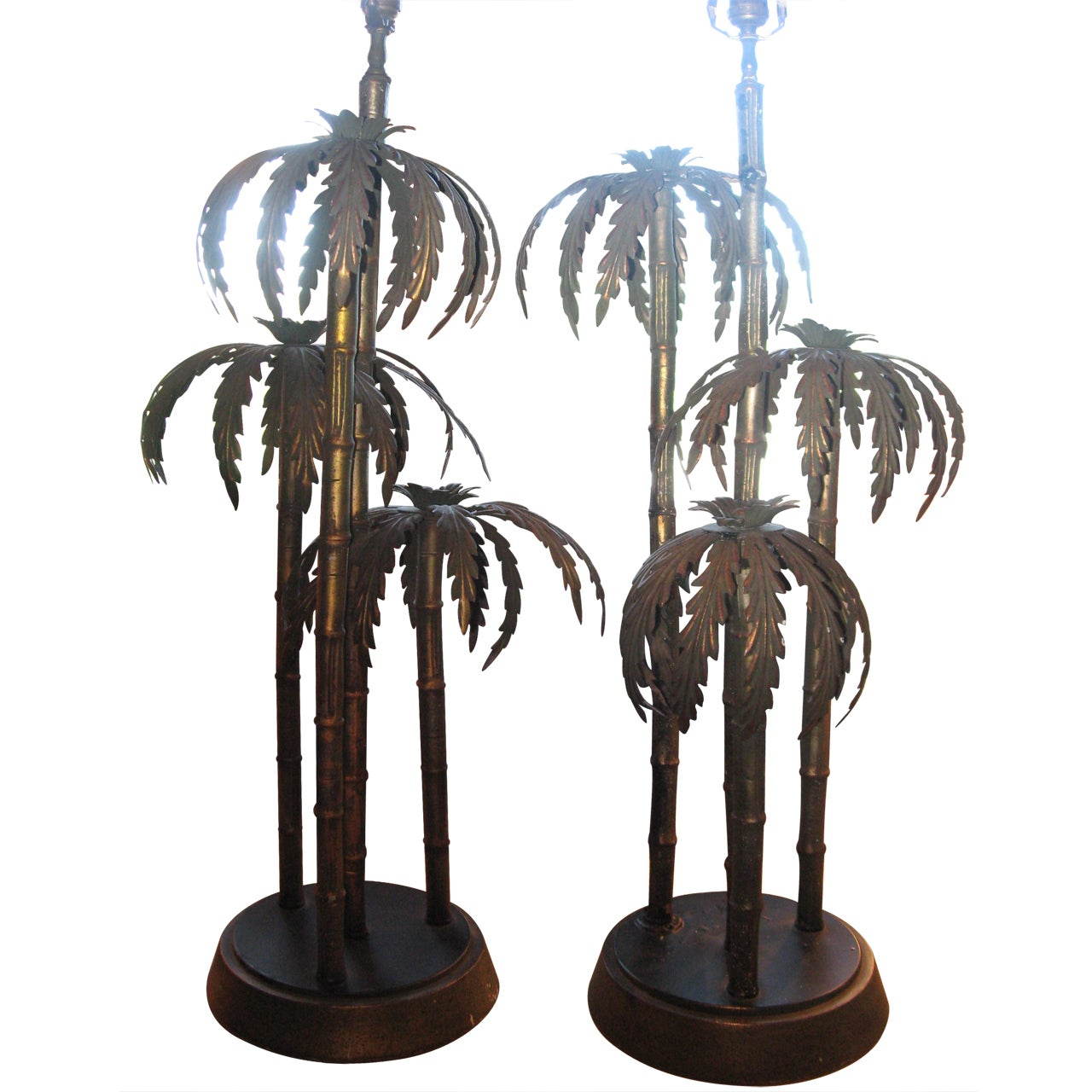 Midcentury Pair of Monumental Palm Tree Table Lamps