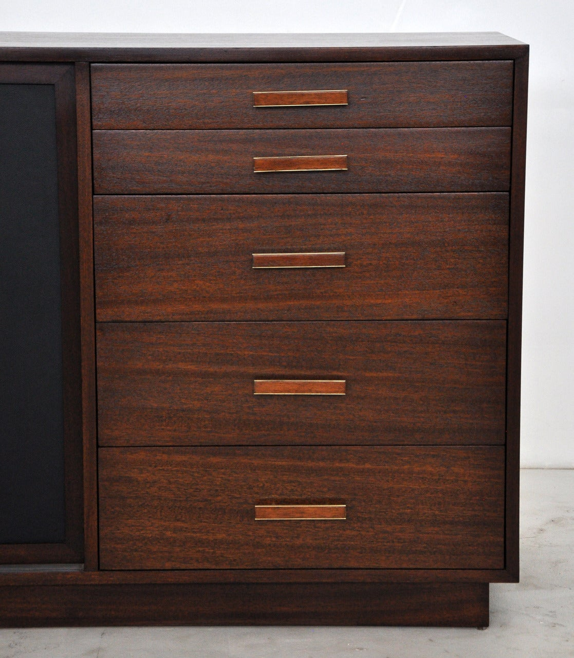 1280 #A54C26 Harvey Probber Credenza With Leather Doors At 1stdibs save image Harvey Doors 43271117