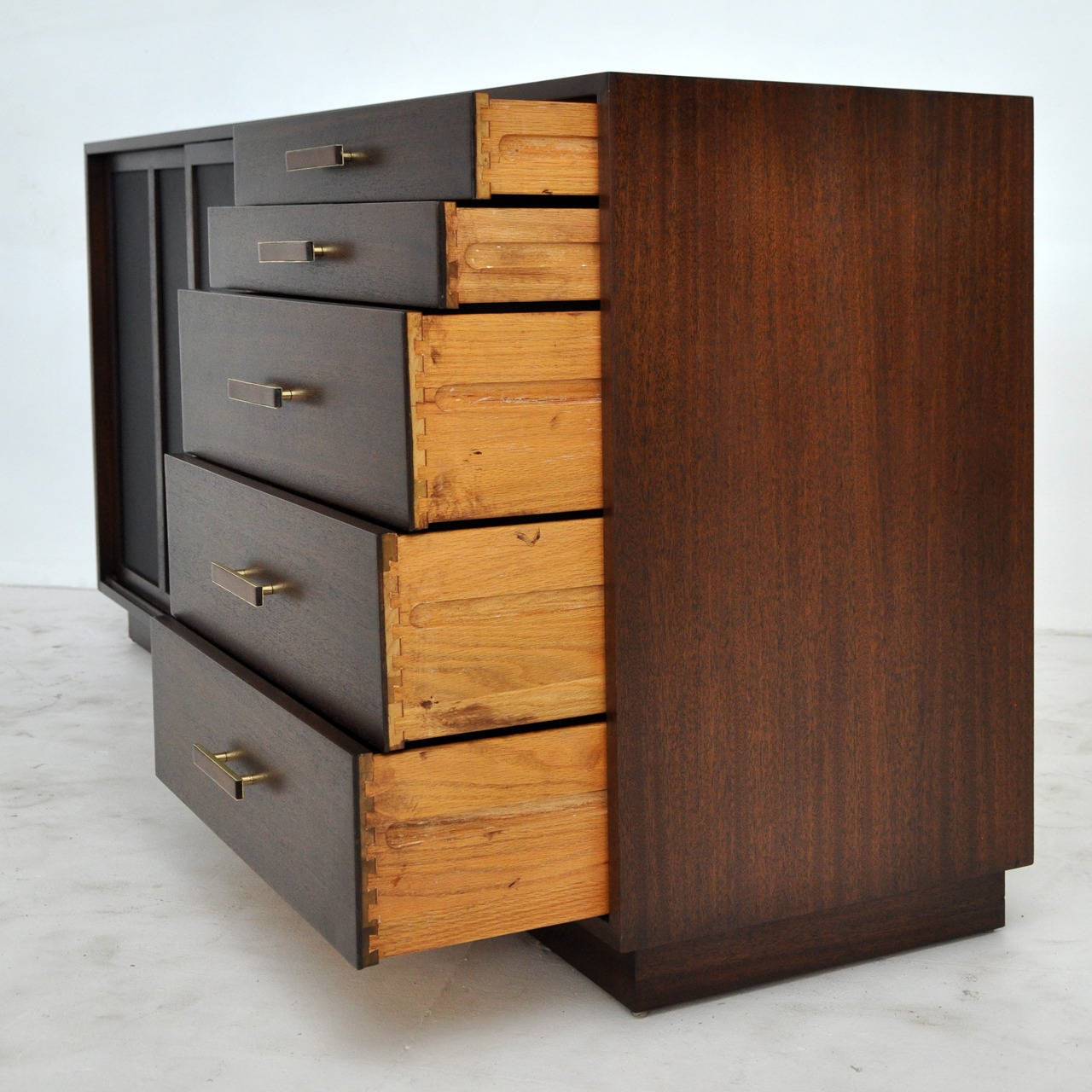 1280 #9D672E Harvey Probber Credenza With Leather Doors At 1stdibs save image Harvey Doors 43271280