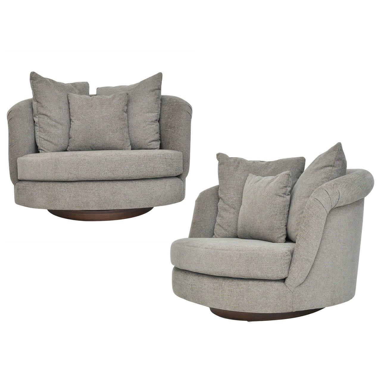 Pair of Large Milo Baughman Swivel Chairs 1