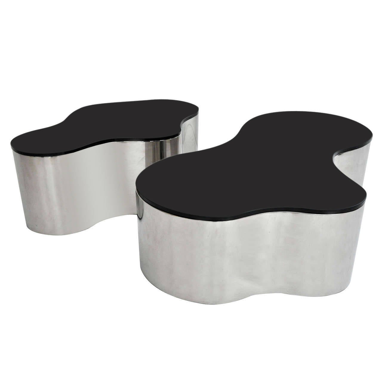 pair of free form coffee tables by karl springer at 1stdibs. Black Bedroom Furniture Sets. Home Design Ideas