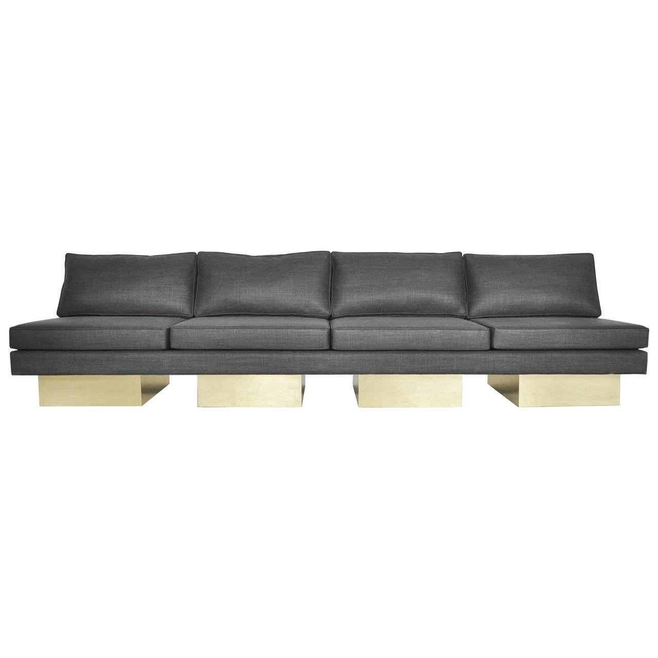 Milo Baughman Brass Platform Sofa At 1stdibs