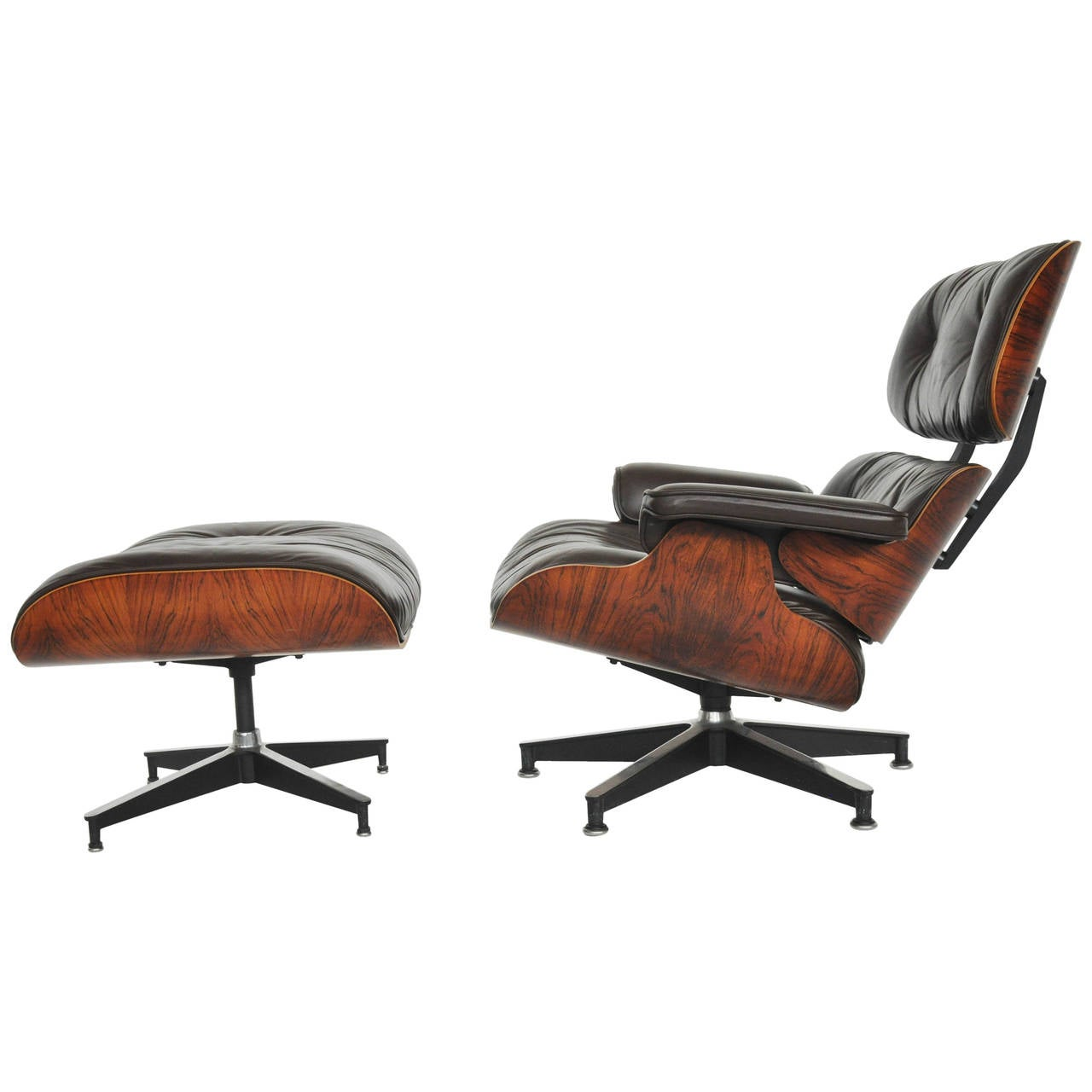 rosewood charles eames lounge chair herman miller dark brown leather at 1stdibs. Black Bedroom Furniture Sets. Home Design Ideas