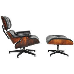 Rosewood Charles Eames Lounge Chair, Herman Miller, Black Leather
