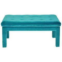 Milo Baughman Turquoise Velvet Bench