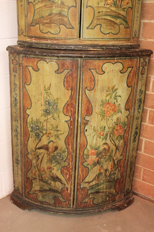 19thc hand painted italian corner cabinet image 3 for Italian painted furniture