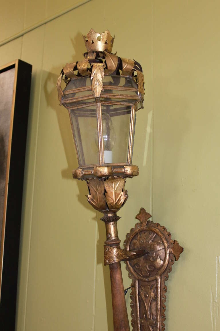 French Iron Wall Sconces : 19thC French Gilt Iron Metal and Wood Wall Sconce at 1stdibs