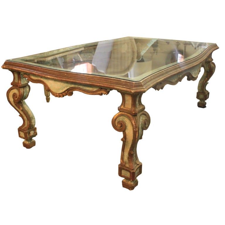Vintage italian carved painted coffee table at 1stdibs for Coffee tables painted