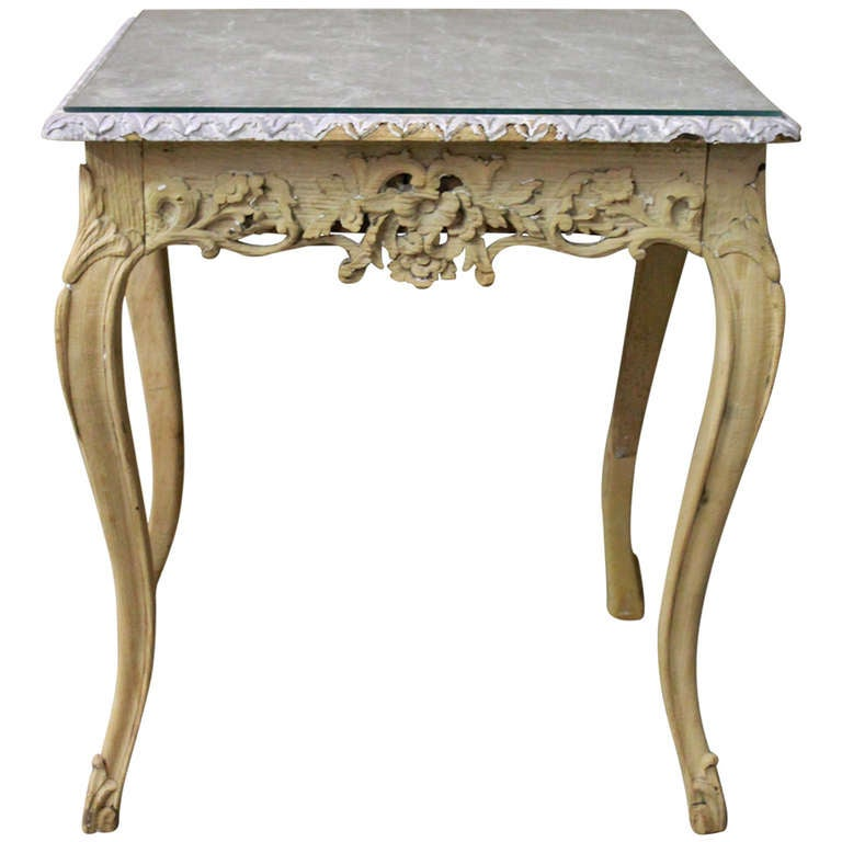 Marble And Carved Wood Accent Table: Antique French Carved, Faux Marble Top Wood Table At 1stdibs