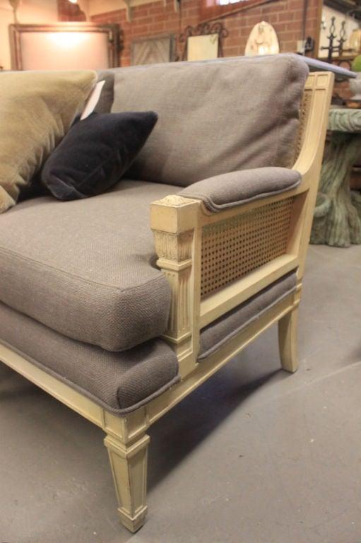 mid century french regency cane back sofa with new grey Cane Back Furniture Cane Back Furniture