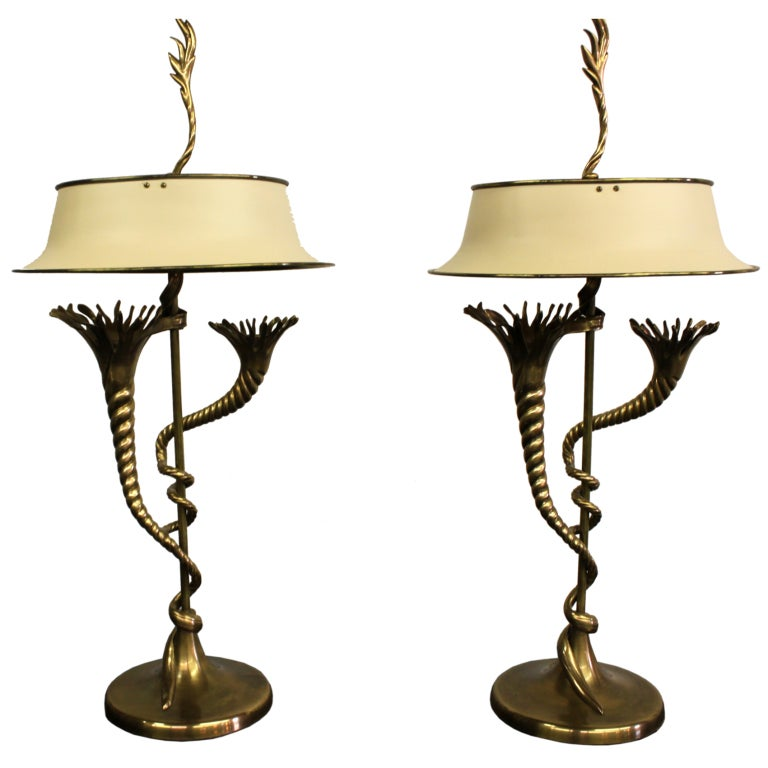Pair Of 1990 S Brass Chapman Lamps With Painted Brass Tole