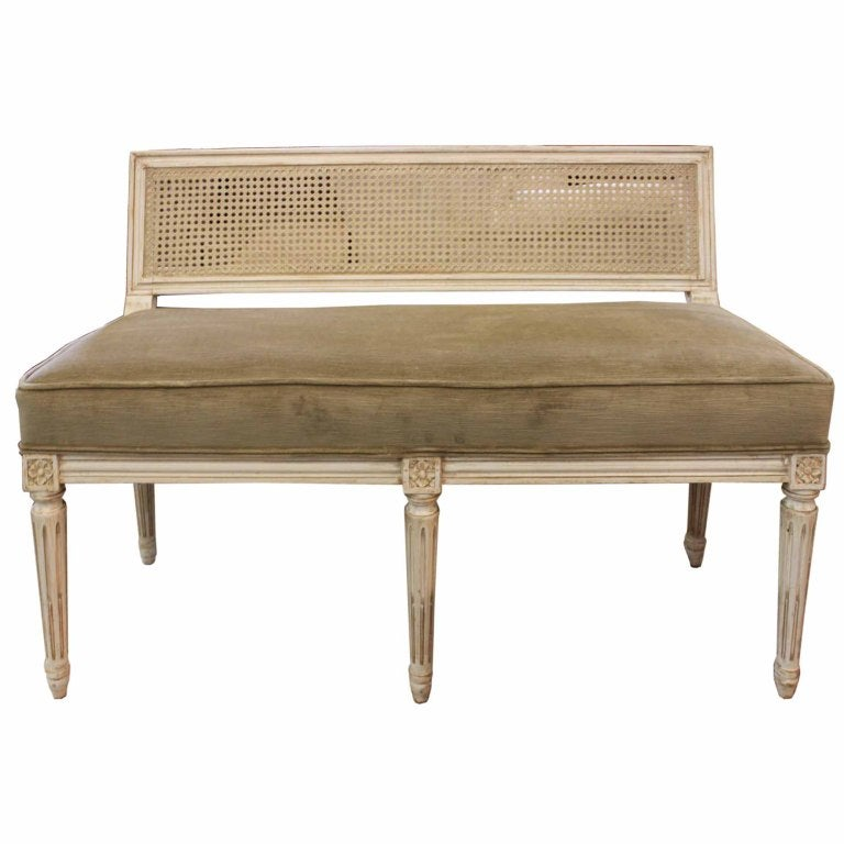Mid C French Style Cane Back Bench At 1stdibs