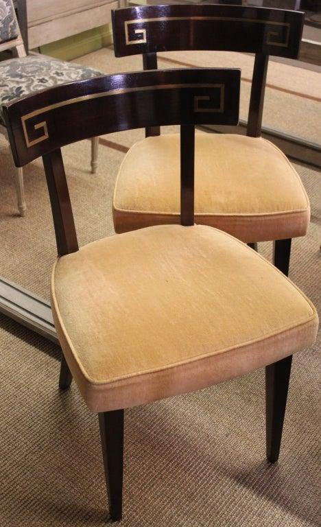 Set of six greek key inlaid klismos dining chairs at stdibs