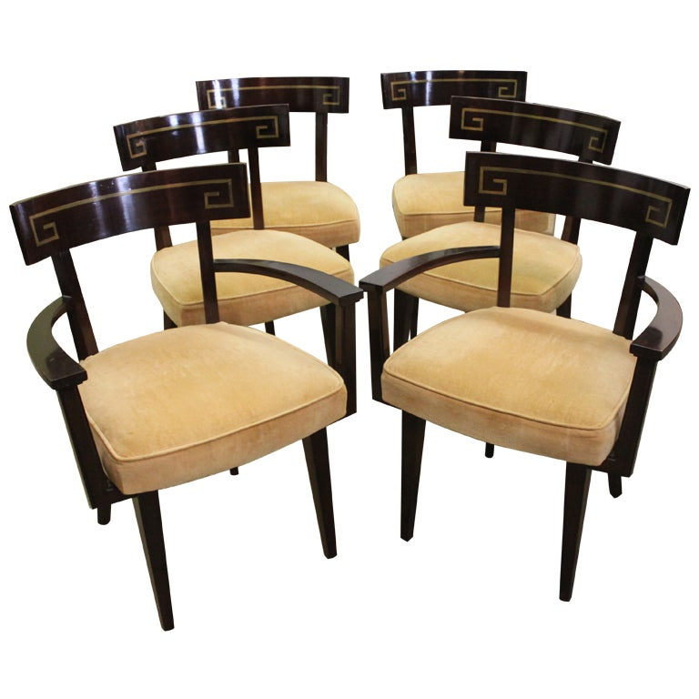 Set of six greek key inlaid klismos dining chairs at stdibs