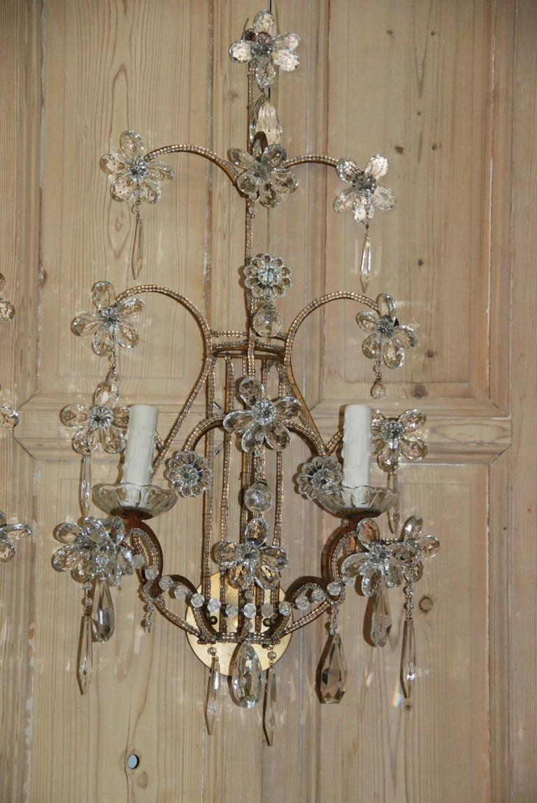 Pair of Italian Crystal Sconces at 1stdibs
