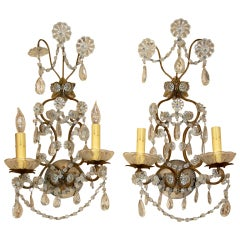 Pair of 19th Century French Crystal Sconces