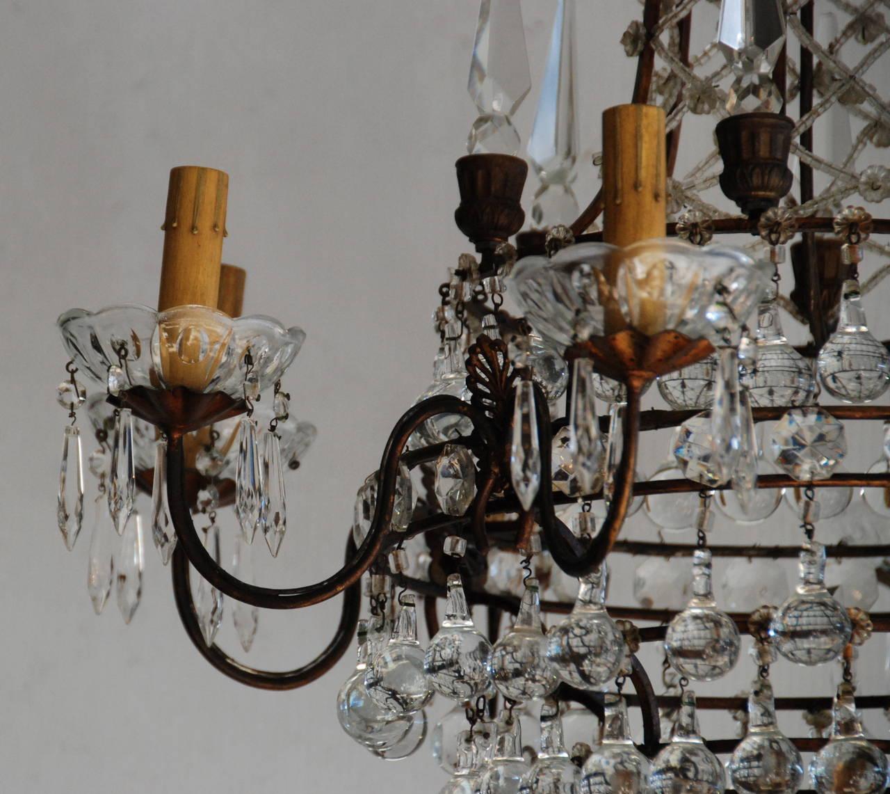 Italian Crystal Chandelier, 19th Century For Sale 2