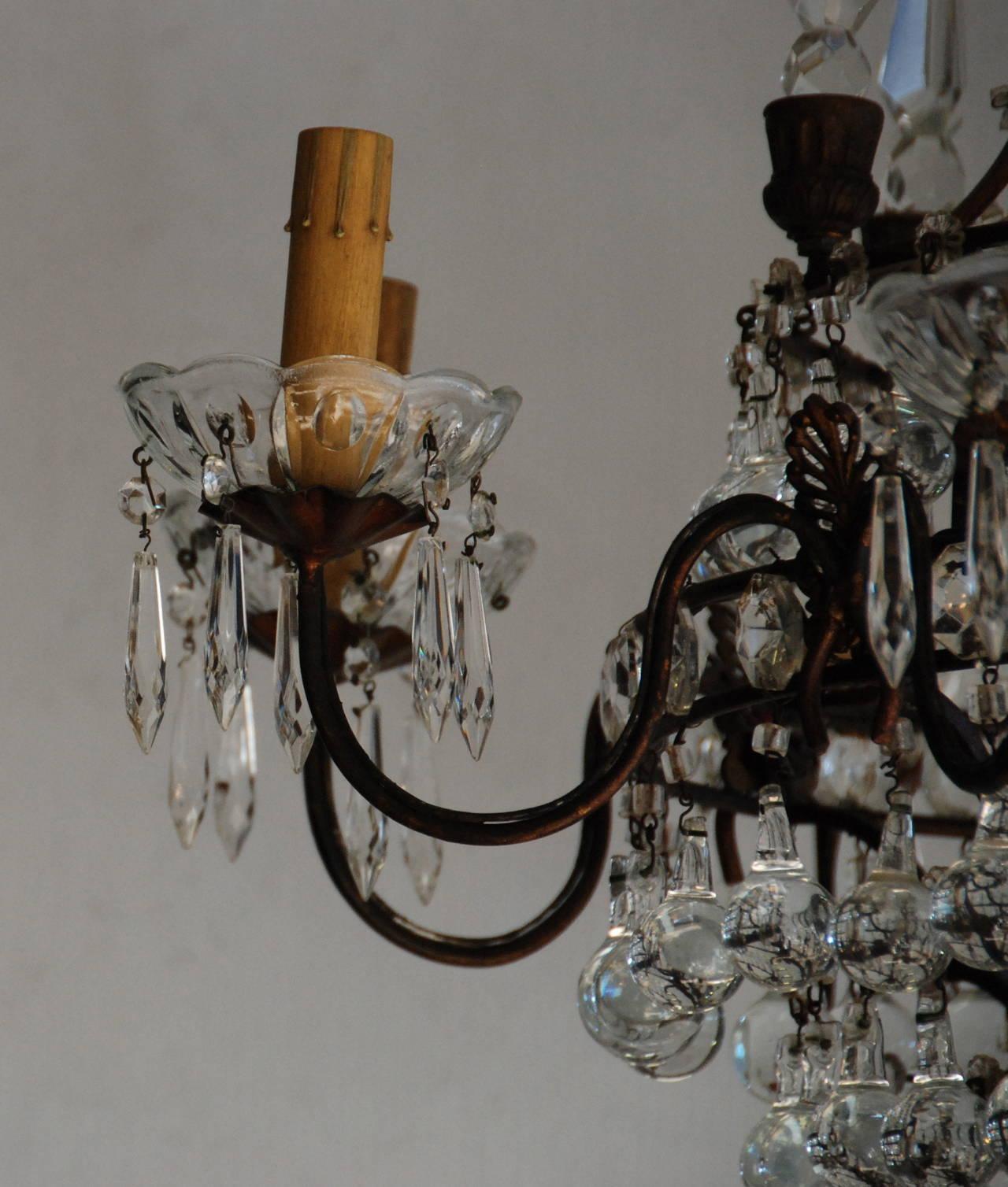 Italian Crystal Chandelier, 19th Century For Sale 1