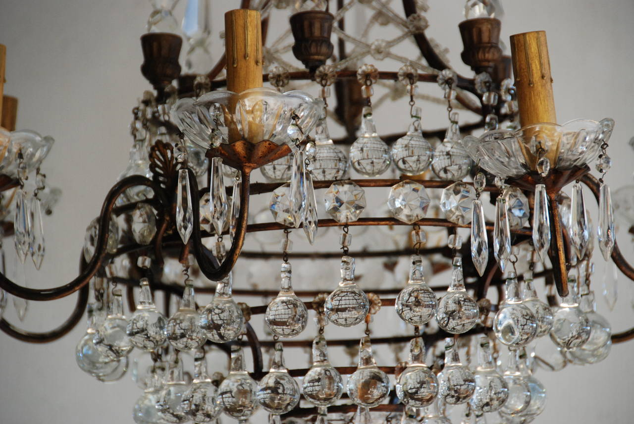 Beautiful 19th century Italian eight-light bronze and crystal chandelier. All newly wired and restored.